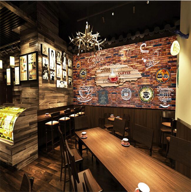 Custom size photo 3d stereo retro wallpaper graffiti brick for Cafe mural wallpaper