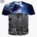 Mr.1991 Новый 2017 летом с коротким рукавом Футболки для детей обе стороны руины Замка galaxy 3D футболки Унисекс 11-20years топы X20