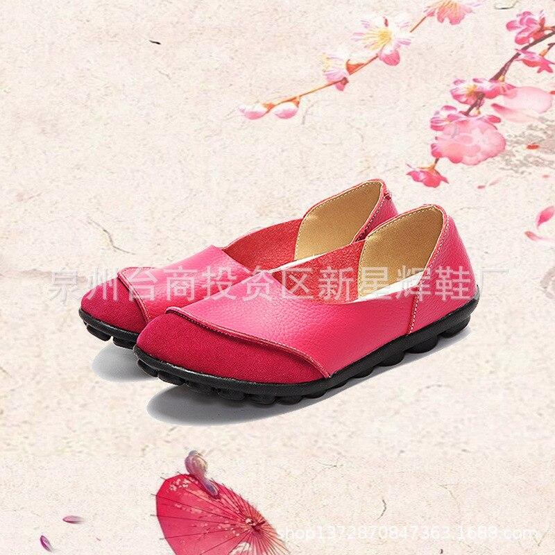 Mocassins rose Ballet Rouge Rouge Chaussures noir Femme Couleurs Respirant vin En Femmes Cuir See Mère Casual Véritable Conduite Appartements jaune Mélangées Chart xp7S0q1Rxw