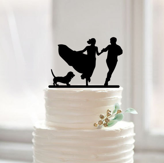 Unique Silhouette Wedding Cake Topper With Dog Cute Running Bride And Groom Toppers For