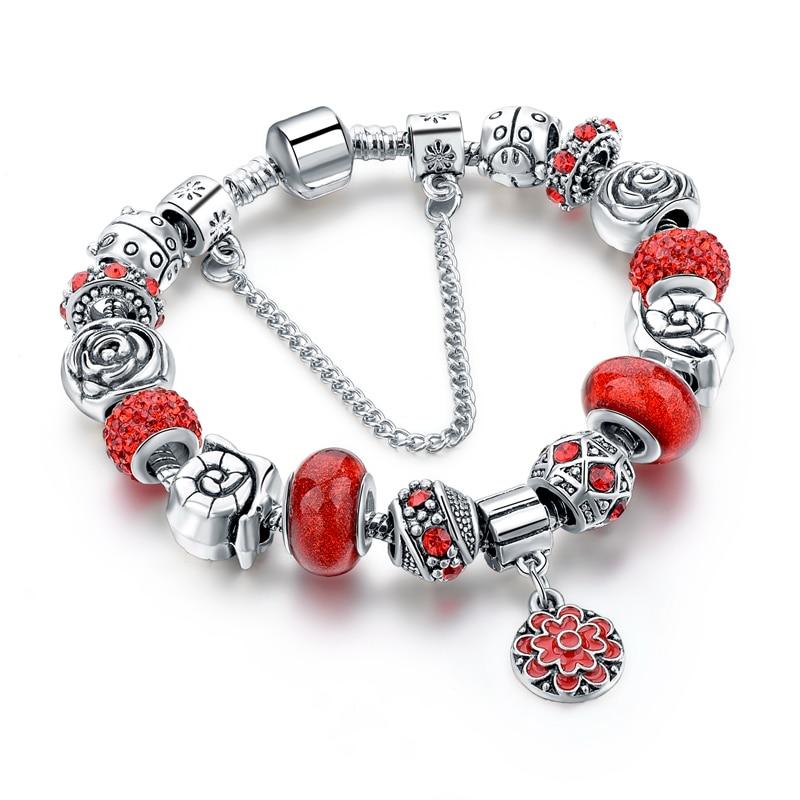 Fashion Fit Pandora Bracelet Szelam Red Flower Charm Br