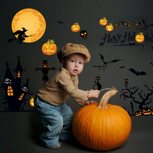 Festival Decals HAPPY HALLOWEEN Pumpkins Wall Stickers Showcase Letters Decal Window Decoration Viny Wall Sticker For Kids Rooms