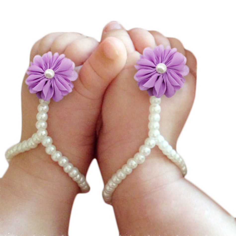 First Walker Baby Beach Foot Anklet Chain Newborn Baby Flower Barefoot Shoes Pearl Flower Foot Sandals Kids Accessories Dropship