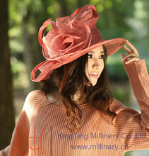 Beautiful New Dress Wedding Kentucky Derby Wide Birm Floppy Feathers Floral Flower Women's Top Sun-shading Sinamay Hat Red