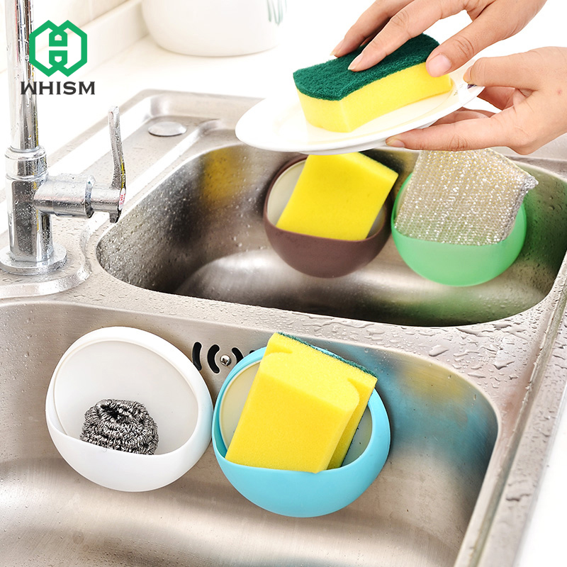 WHISM Plastic Wall Suction Cup Bathroom Rack Detachable Sucker Container Toothbrush Toothpaste Holder Round Soap Box Dish Shaver image
