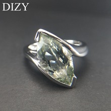 DIZY Natural Green Amethyst Ring Solid 925 Sterling Silver Marquise Cut Gemstone Ring for Women Wedding Engagement Jewelry