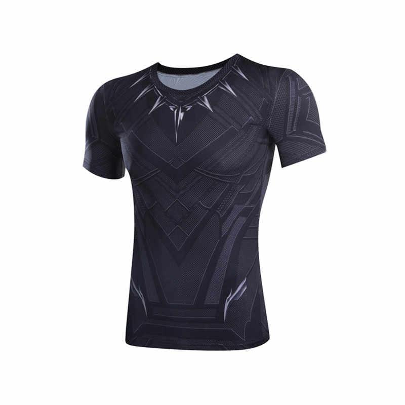 c223e0a0 Black Panther 3D print T-shirts Men Compression Shirt Captain America Civil  War batman tee