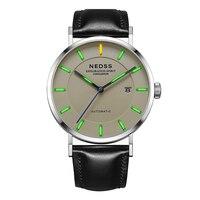 NEDSS Швейцарский Часы с Тритиевой подсветкой Miyota 9015 механические часы с автоматически подзаводом наручные часы DW кожа наручные часы сапфир 50