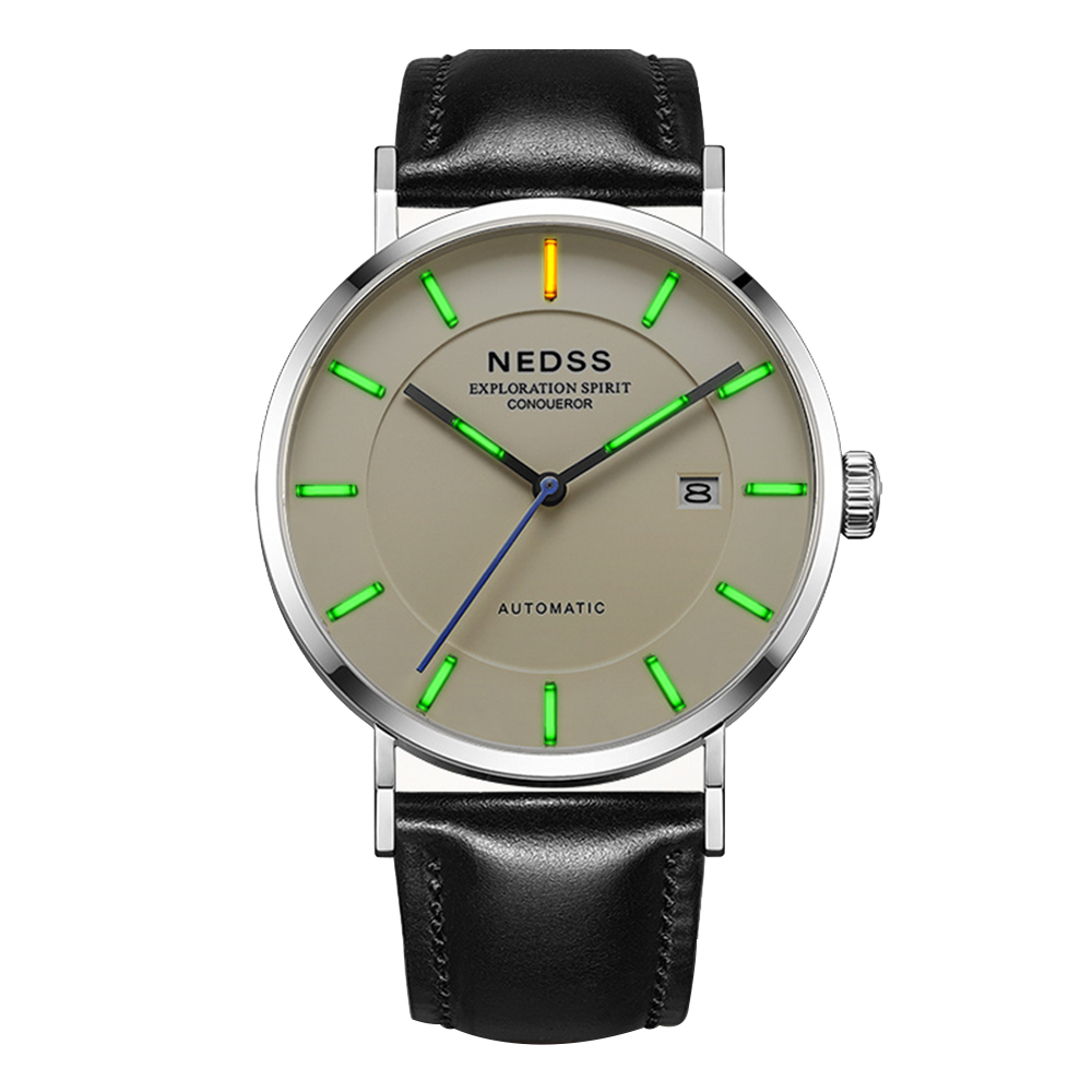 NEDSS Swiss Tritium watch Miyota 9015 automatic watch Mechanical Wristwatches DW leather wrist watch sapphire 50m Waterproof цена 2017