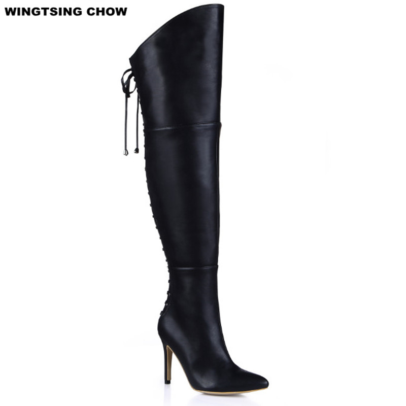 Plus Size 43 Over Knee High Boots Pointed Toe Leather Women Boots Black High Heels Sexy Motorcycle Boots Ladies Shoes Autumn brand new fashion black yellow women knee high cowboy motorcycle boots ladies shoes high heels a 16 zip plus big size 32 43 10