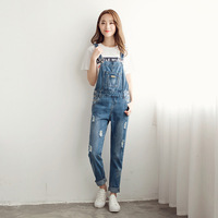 New Women Jumpsuit Korean Style Hole Denim Rompers Overalls Casual Skinny Girls Long Pants Jeans S
