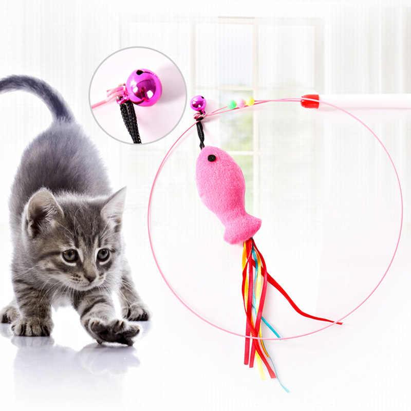 110 cm Gattino Giocattolo Forma di Pesce Gatto Catcher Teaser Toy Teaser Bacchetta Pet Giocattolo Gatto Gatto Teaser di Bastone Gatto Interattivo giocattoli