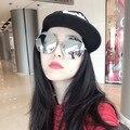 Espelhado Lens Metal Frame Eyewear quente Oversized Rodada Óculos De Sol Das Mulheres Óculos de Sol Da Marca do Desenhador 2017 L4
