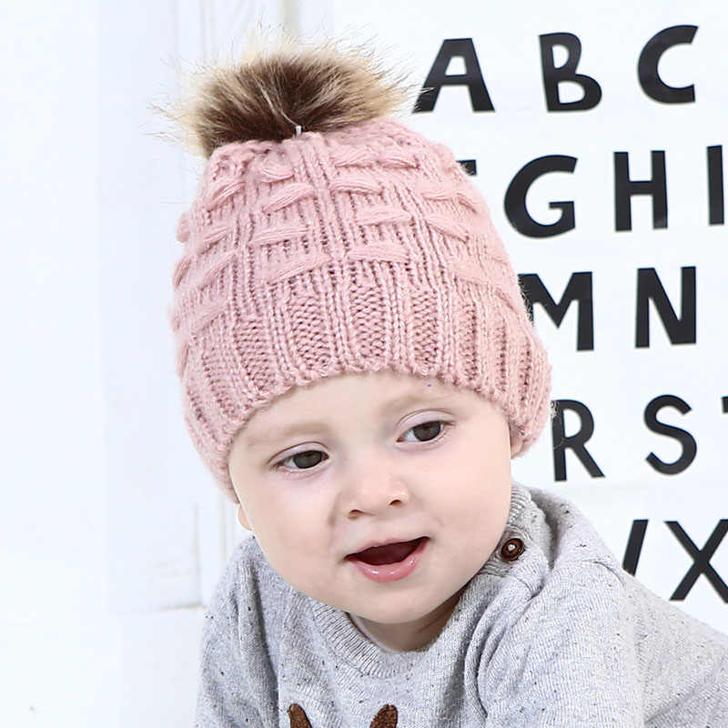 8e70ddf9e Cute Pompom Baby Winter Hat Cap Kids Children Girl Boy Hat Newborn Toddler  Infant Warm Knitted Beanie Hats Bonnet for Girls Boys