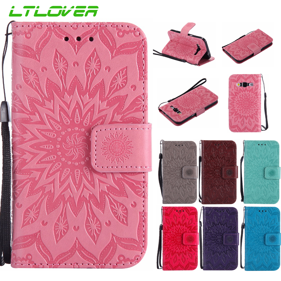 For Galaxy Xcover 4 sunflower double Embossed Leather Case For Samsung Galaxy Note 3 4 5 8 G360 S3 S4 S5 Mini S6 S7 Edge S8 Plus
