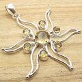 Yellow Cut CITRINE 7 Gems STAR Pendant ! Silver Plated GIRLS' Jewellery Retailer