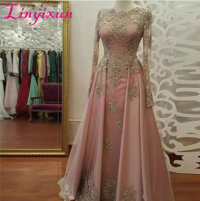 Long Sleeve   Prom     Dresses   for Women Wear Lace Appliques vestidos de fiesta Abiye Dubai Caftan Muslim Evening Party Gowns 2018