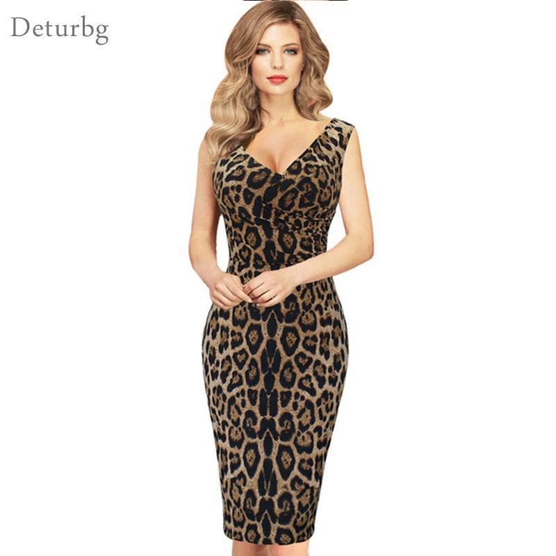 Women Elegant Leopard Print Pencil Dress Plus Size 5xl Ladies