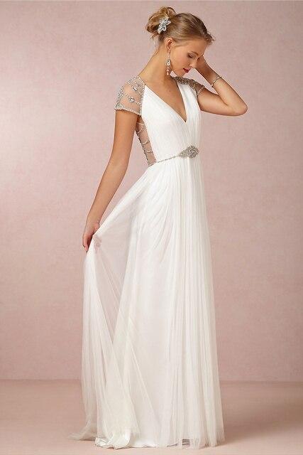 Hot Sale Beach Wedding dresses Australia A Line V Neck Sheer Beaded ...