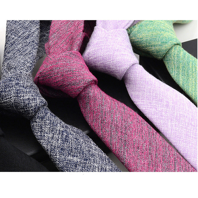 RBOCOTT Solid Cotton Tie 6cm Slim Tie Striped Men's Casual Blue Black Skinny Ties Red Green Gray Necktie For Men Wedding