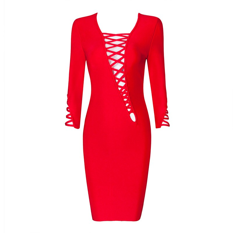 2017 Mid Sleeve Red spring Autumn Hollow Out Knee Length Rayon Knitted Elastic Bodycon Bandage Dress