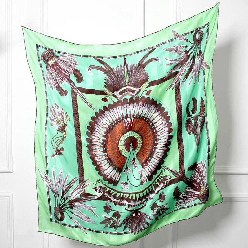 Fashion Feathers Print Large Square Silk   Scarf   Shawl 110x110cm Women 100% Silk Twill Scarfs   Wraps   Hijab Foulard Luxury Hand Roll