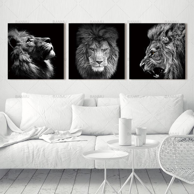 Animal lion art prints Wall Art Pictures Canvas Painting  2