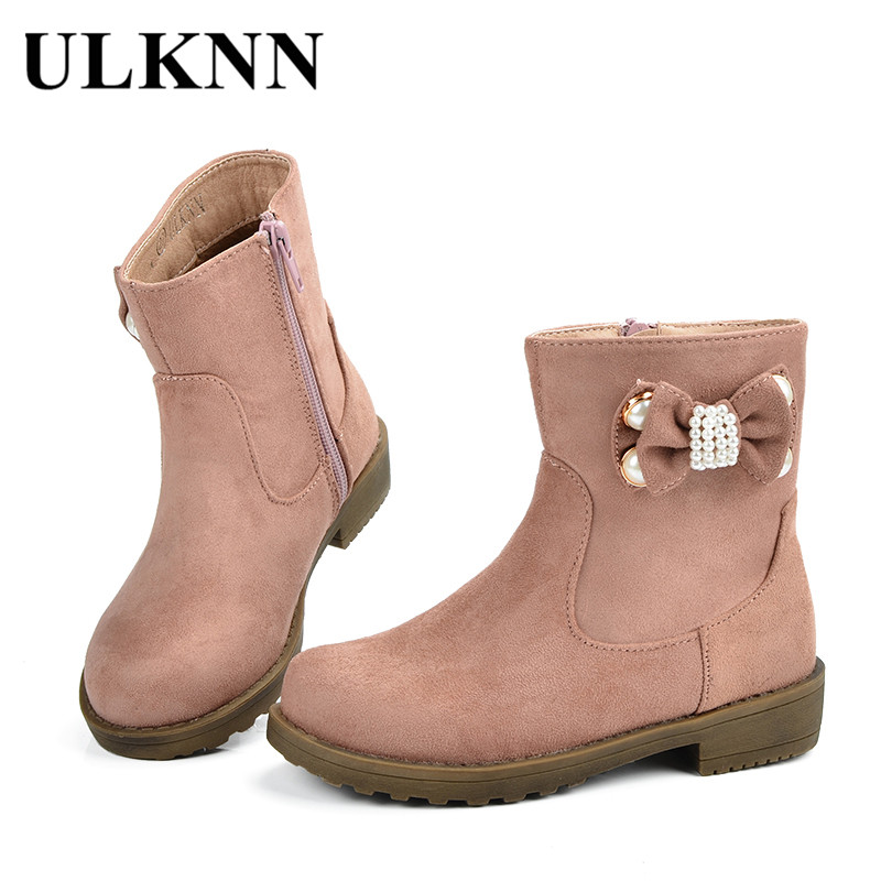 ULKNN Girls Boots Kids Winter Shoes For Girls Children Shoes Plush Bow Rubber Snow Boots Baby Pink Warm Botas Genuine Leather