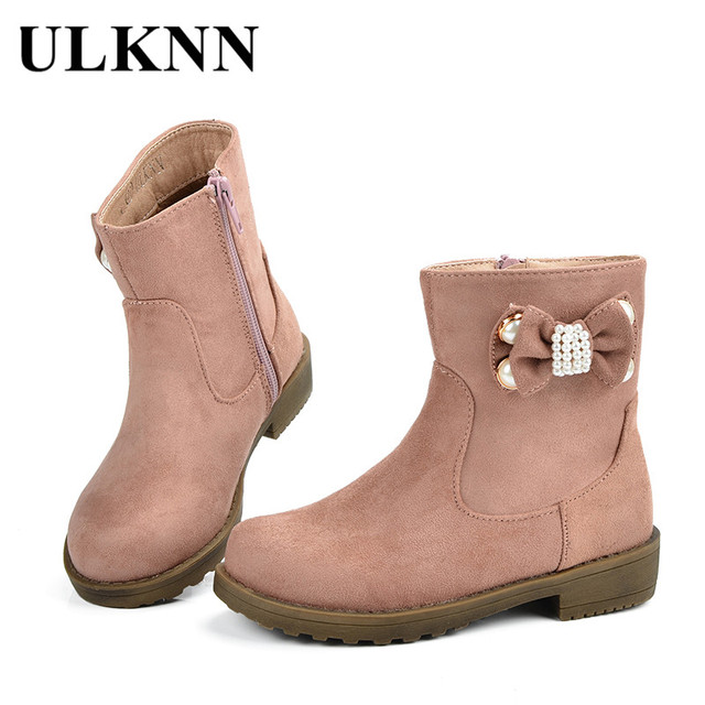2b4f4914d0a ULKNN Girls Boots Kids Winter Shoes For Girls Children Shoes Plush Bow  Rubber Snow Boots Baby Pink Warm botas Genuine Leather