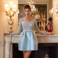 Elegant Light Blue Lace and Taffeta O Neck Long Sleeve Court Train with Sash Beaded Short Party Dress robe de soiree 1217D