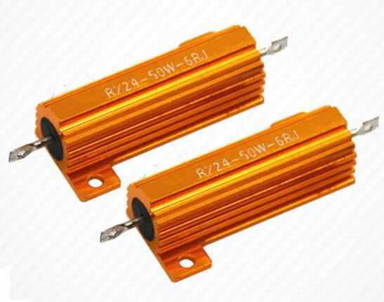 RX24 50W 5% gold aluminum shell high power cooling resistor 0.1R 0.5R 1R 1.5R 2R 10R 15R 30R