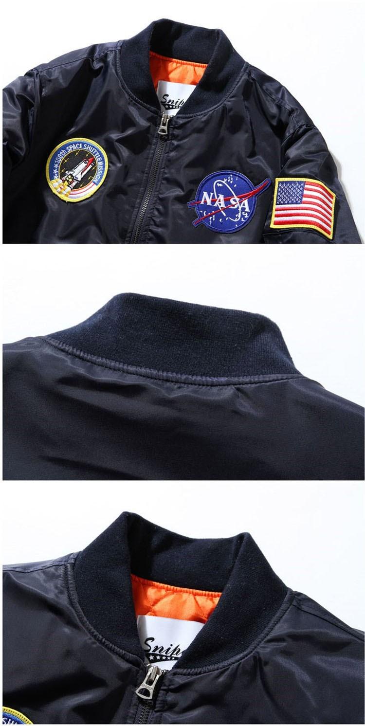 Men Bomber Jackets Flight Pilot Jacket Coat Nasa Air Force Embroidery Baseball Uniform Military Style Coats Army Green Black (2)