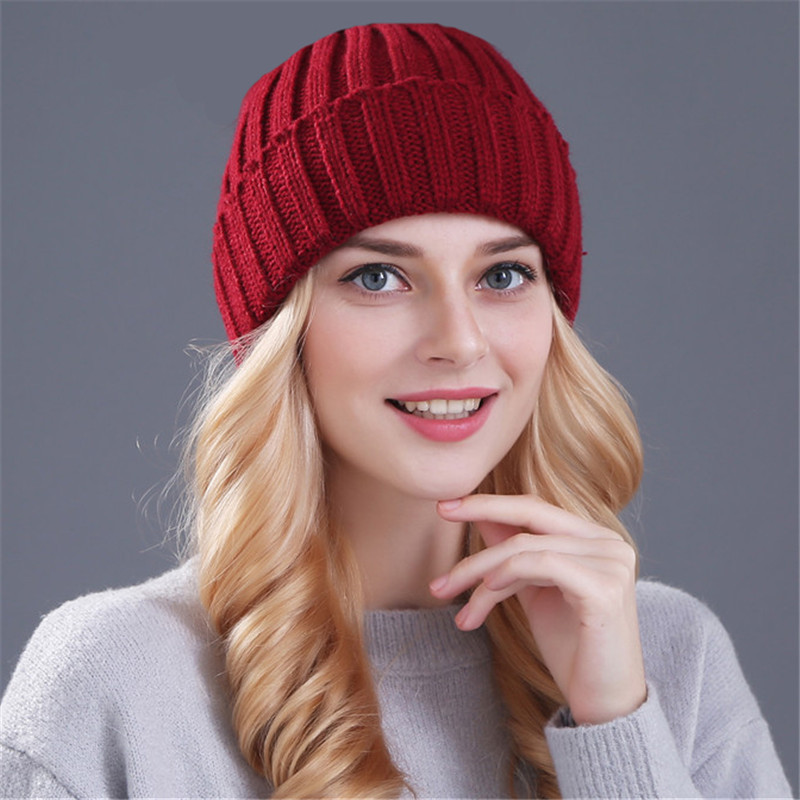 [Xthree] Keep Warm Winter Hat For Women Girl 's Wool Hat Knitted Beanies Cap Thick Female Cap