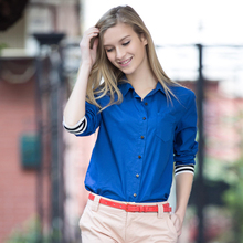 2017 Spring Summer Women's Blusas Shirt Solid Color Long Sleeve Polo Shirts Cotton Blouse Slim Casual Tops Blue/khaki S-XXL