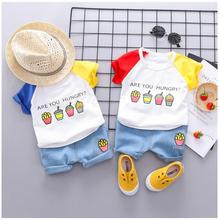 купить 2019 Summer Baby Boys  Girls Clothing Sets Infant Toddler Clothes Suits Cartoon T Shirt  Shorts Kids Children Casual Suit по цене 545.13 рублей