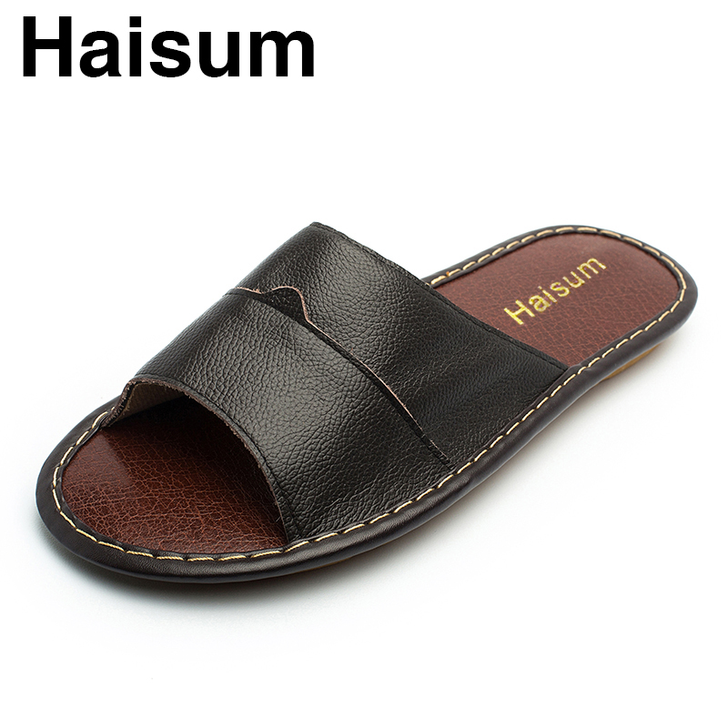 Men's Slippers Spring And Summer genuine Leather Home ...