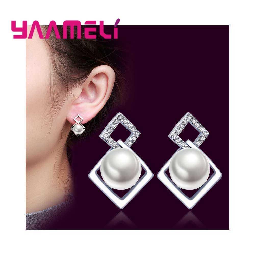 Neue Design Quadratische Form 925 Reine Perle Ohrringe Für Frauen Trendy Hochzeit Schmuck Ohrring Sets Großhandel