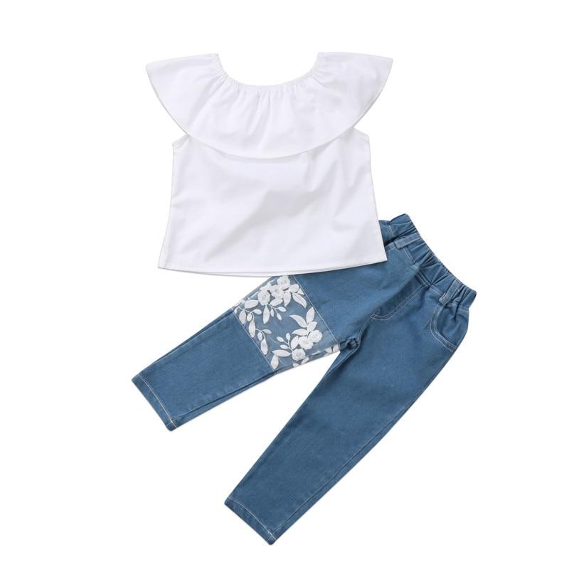 Fashion Newborn Kids Baby Girls Summer Outfits Sunsuit Ruffles Off Shoulder Top Blouse Denim Floral Lace Pants Jeans Clothes Set