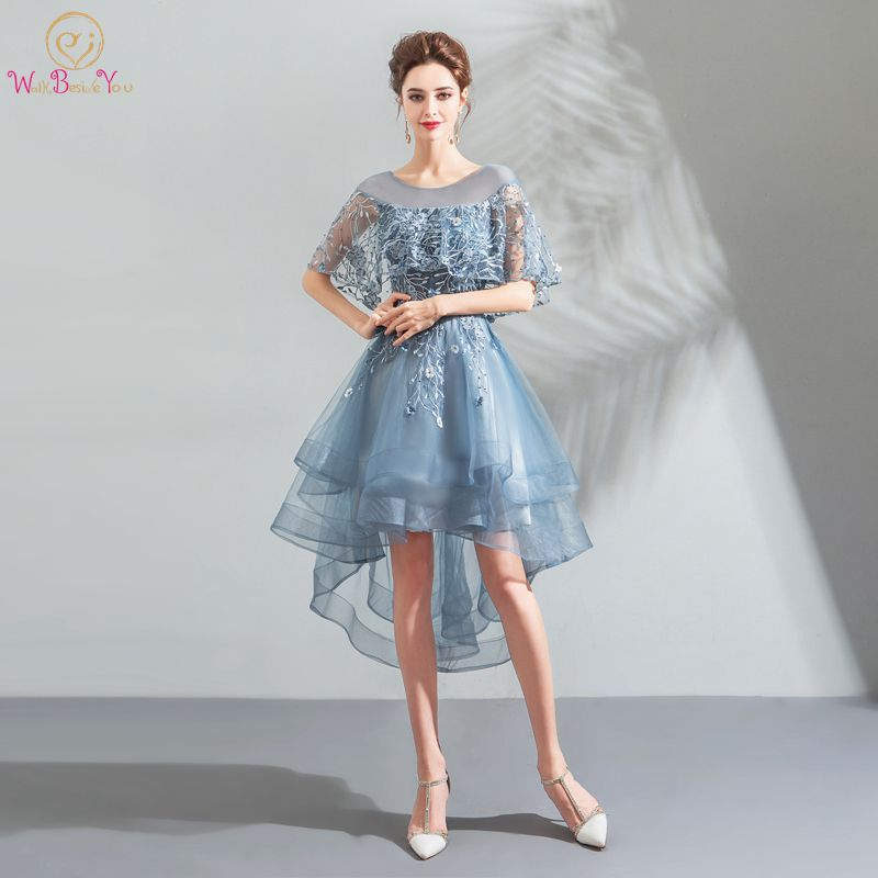 Light Blue Prom Dresses Walk Beside You Short Front Long Back with Wrap Lace Tulle Tiered Evening Gowns Vestidos De Baile 2020