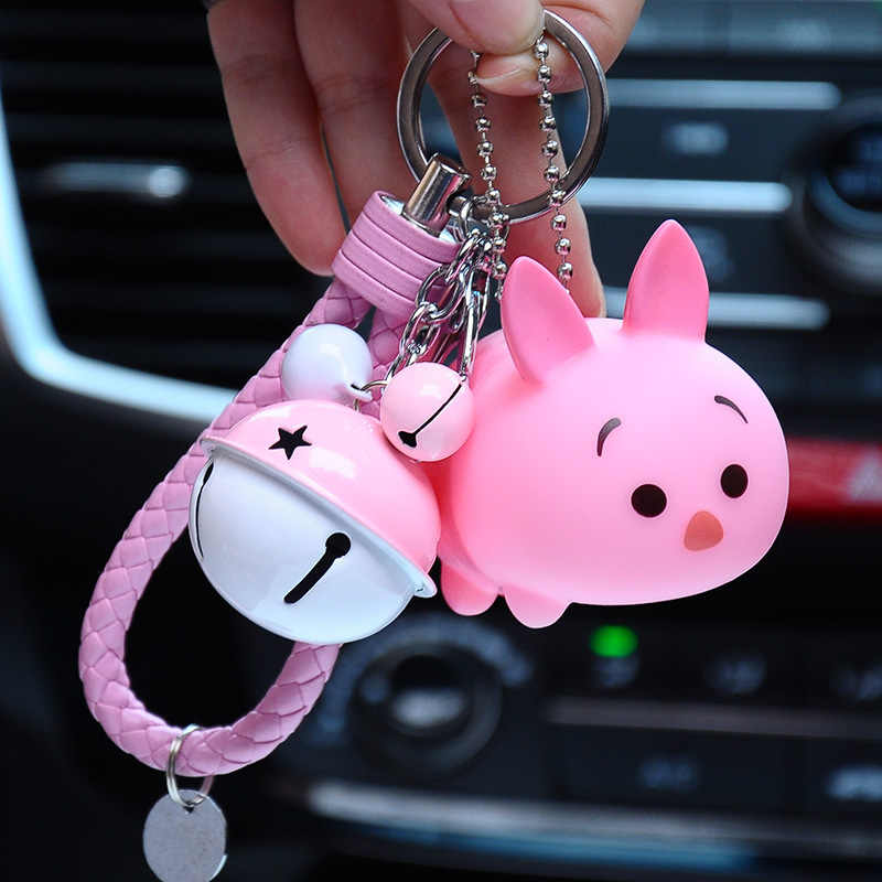 615880bb8 ... Cute Cartoon Bear Keychain Charms Animal Penguin Minnie Pig Dog Key  Chain Car Key Ring Leather ...