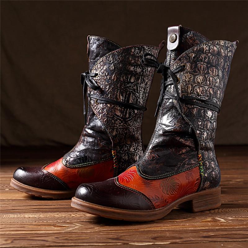95fd605c9ba US $61.2 40% OFF|BuonoScarpe Genuine Leather Cowboy Winter Boots Warm Plush  Insole Retro Mid calf Women Boots Lace Up Patchwork Western Botas-in ...