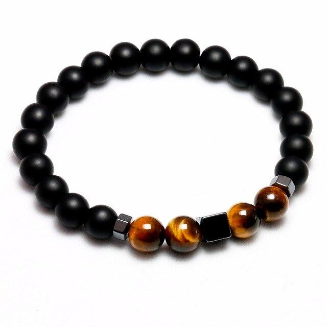 Bracelet Oeil De Tigre Homme onyx mat noir
