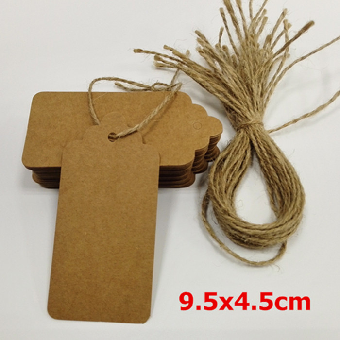 50pcs Christmas Brown Kraft Paper Gift Tags Price Wedding Scallop Label Blank Luggage Tags and strings