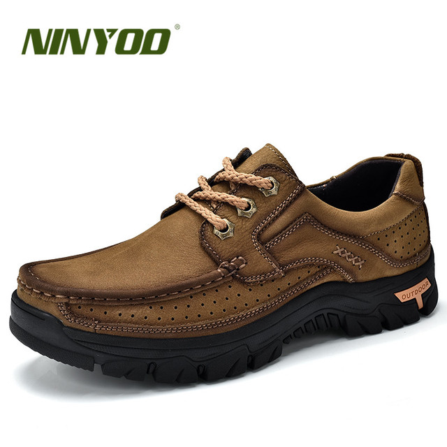 NINYOO Classics Outdoor Shoes Men Genuine Leather Platform Autumn Lace Up Travel Shoes Wearproof Breathable Rubber handmade 44