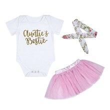 Hot Newborn Kinder Infant Baby Mädchen Body Tanten Bestie Brief Drucken Baby Mädchen Overalls Kleidung Outfit + Stirnband Baby Onesie
