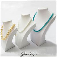 3pcs White PU Leather Neck Shelf Models Necklace Pendant Holder Mannequin Bust Jewelry Display Stand Show Storage Rack Supplies