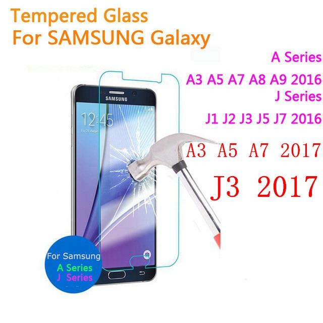 Tempered glass For Samsung Galaxy A3 A5 A7 J3 J7 2017 A520 J1 J2 J3 J5 J7 A3 A5 A7 2016 Screen Protector Protective Film Case