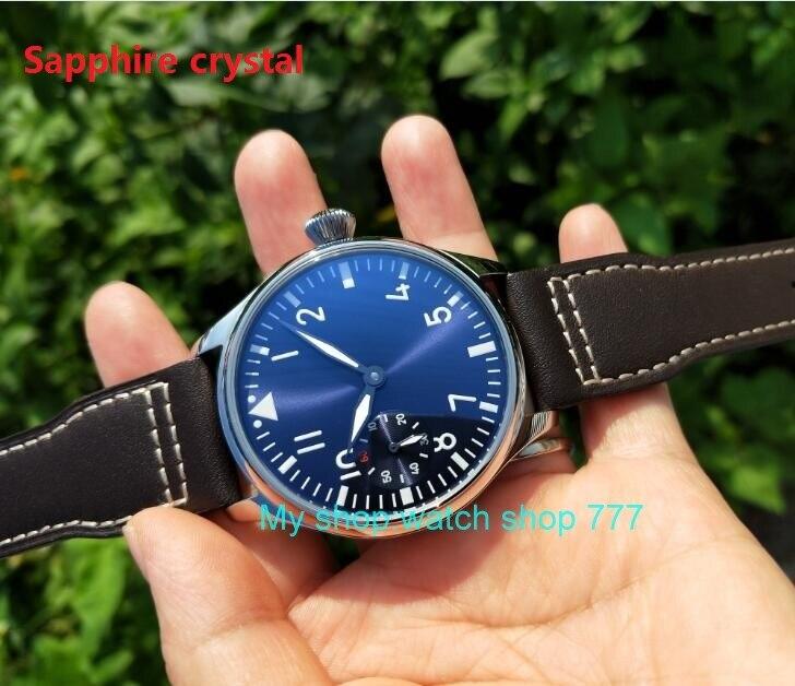 Cristal de zafiro 44mm PARNIS esfera azul claro asiático 6497 17 joyas movimiento de viento mecánico hombre reloj verde luminoso 401-in Relojes mecánicos from Relojes de pulsera    1