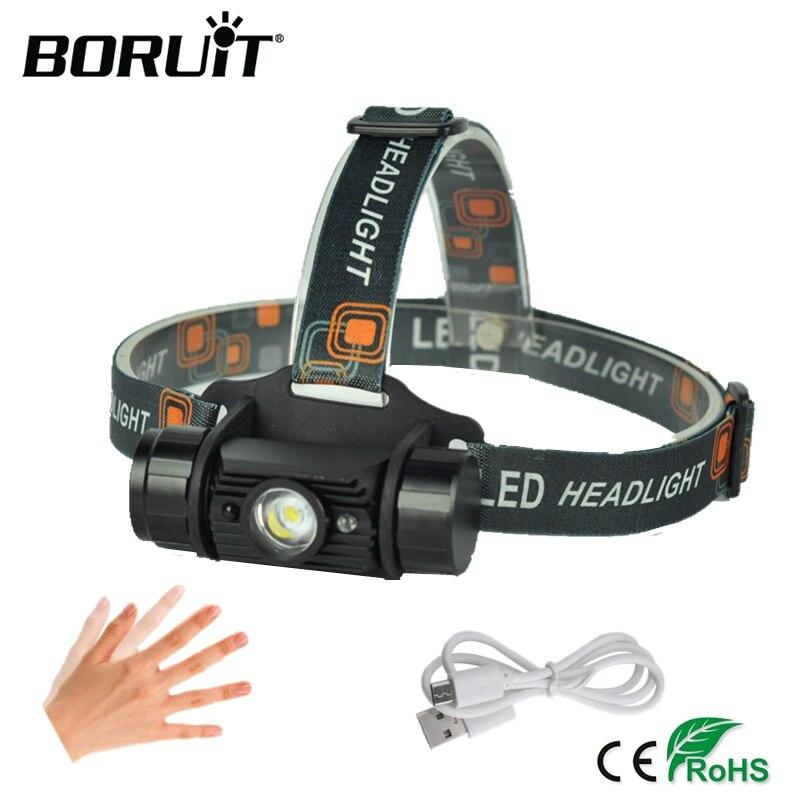 BORUiT 3 W Mini Sensor de infrarrojos linterna de USB recargable Camping linterna de caza linterna de cabeza por batería 18650