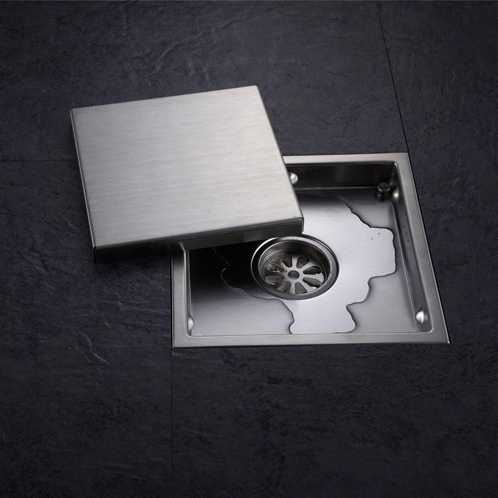 Плитка вставить площади трапных отходов Тёрки Ванная комната Невидимый утечка Душ 110×110 мм или 150×150 мм, 304 нержавеющая сталь